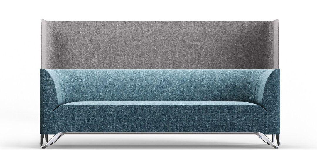 Sofa in Stoff blau mit hohem Rücken als Sichtschutz