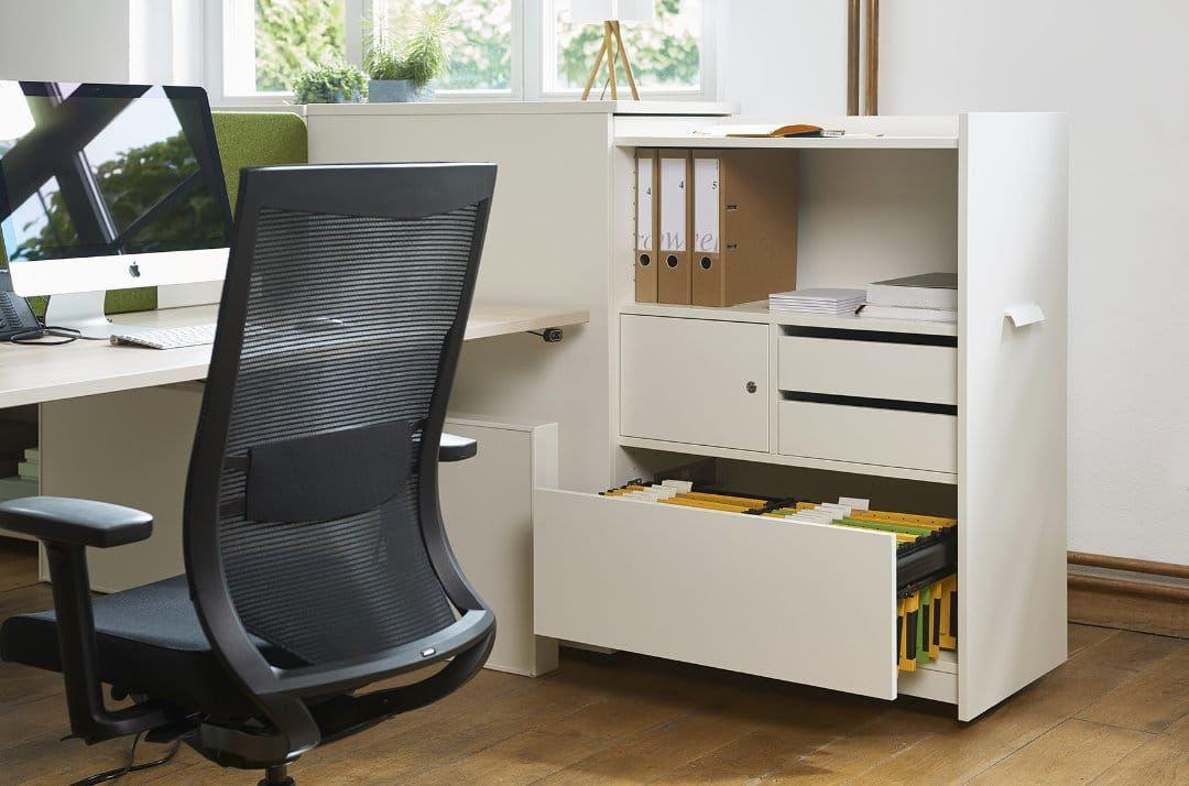 Standcontainer / Apothekerschrank offen in weiß