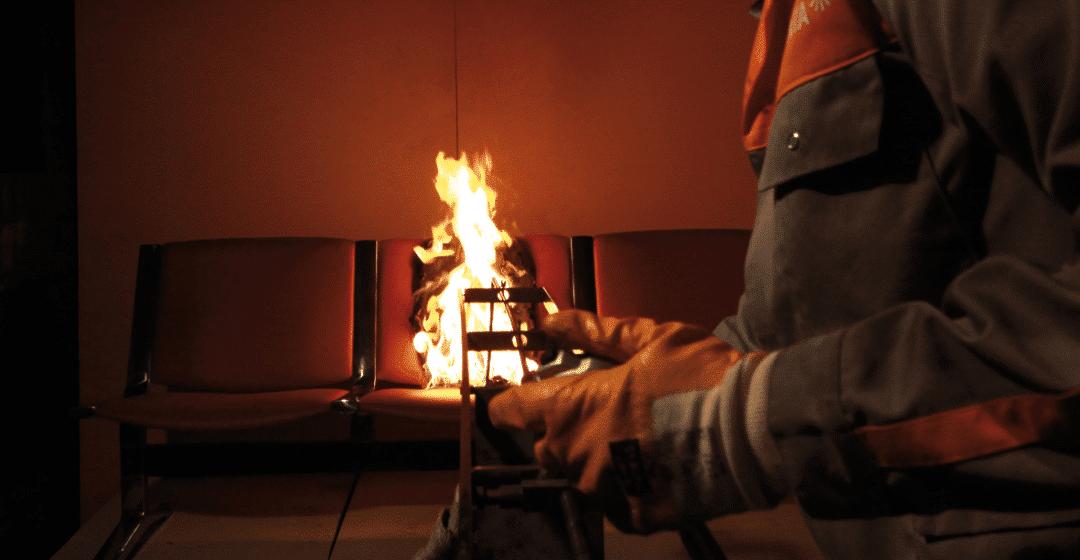 Teststrecke für den Brandschutz bei Sitzmöbeln