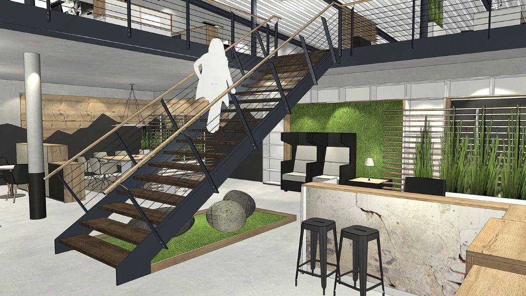 Raumplanung mit grünen Pflanzen und einem Lounge-Charakter