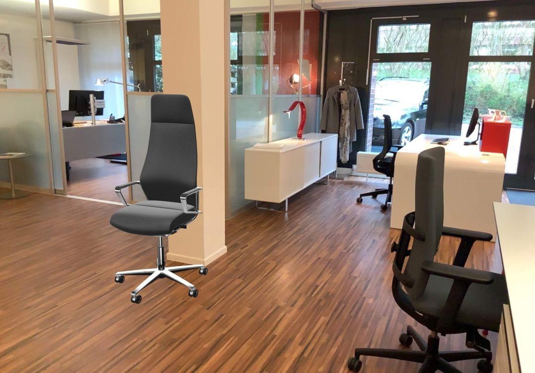 Ein Drehstuhl wird virtuell in den Raum eingefügt per Augmented Reality