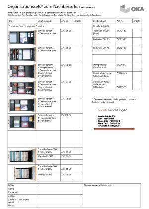 Bestellformular für OKA Rollcontainer Zubehör