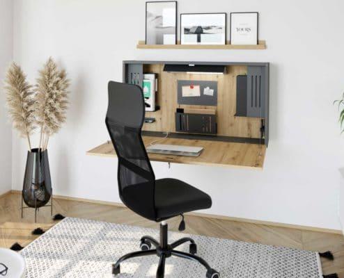 Wandschreibtisch Holzoptik perfekt für das Home Office