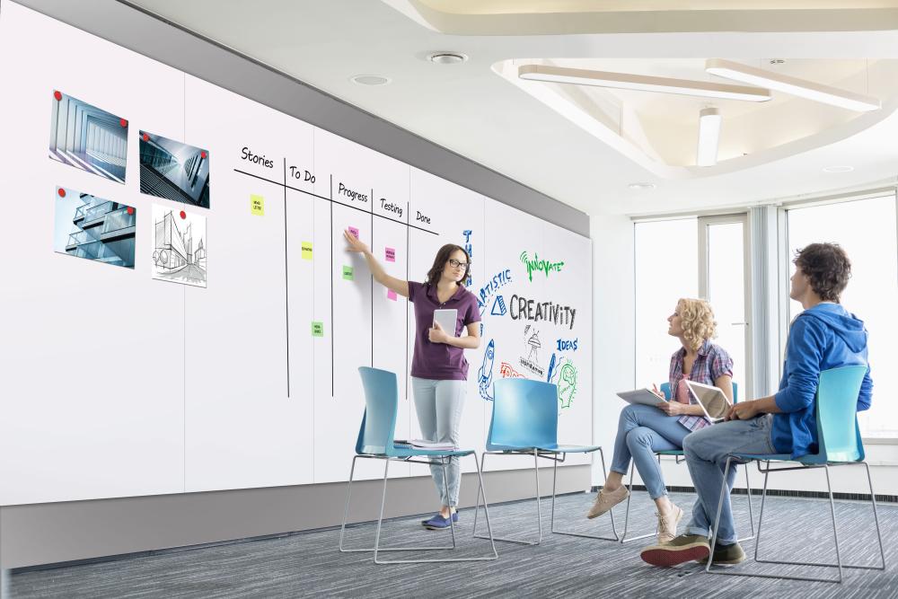 Schulungsgruppe schaut auf ein großformatiges Whiteboard