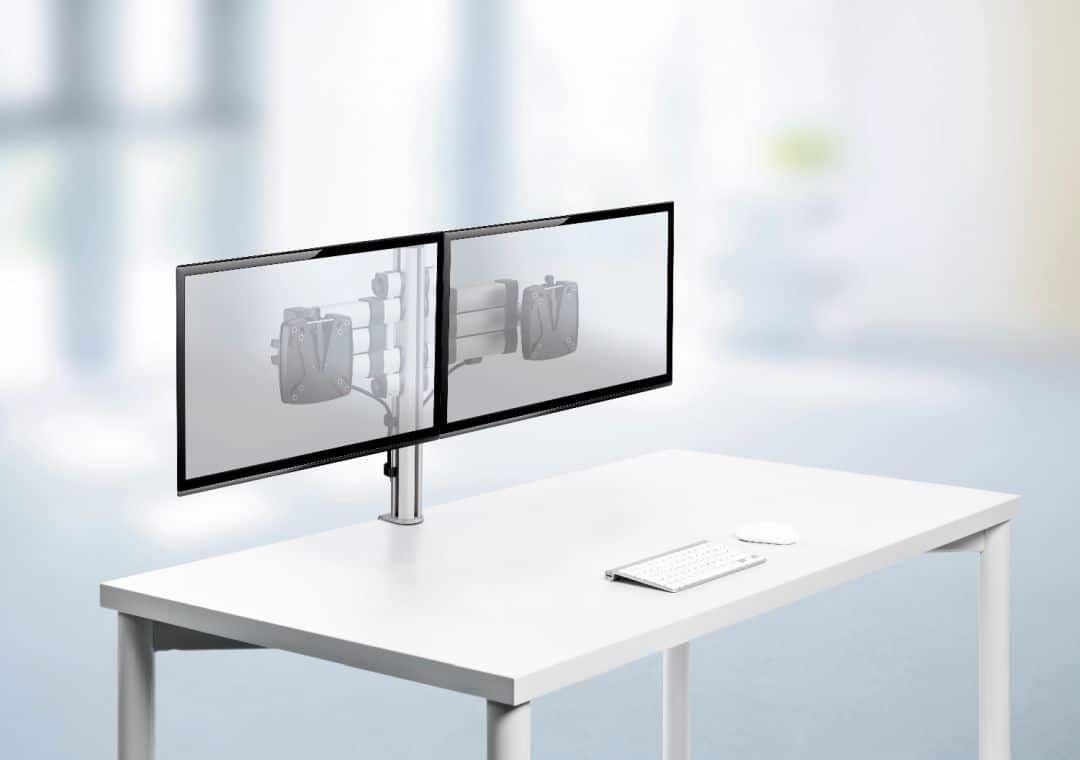 NOVUS Mehrplatzsystem - zwei Bildschirme an einem Tragarm