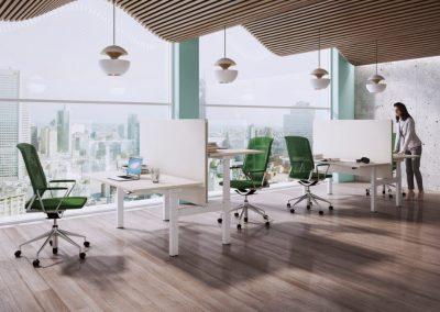 Die Sichtschutzwände sind auf dem Schreibtisch-Gestell montiert