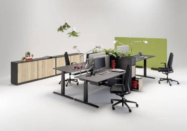 Flow Schreibtisch komplett in schwarz