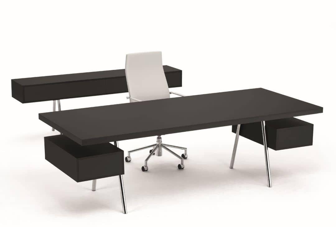 Moderner schwarzer SPIEGELS-Schreibtisch mit weißem Drehstuhl