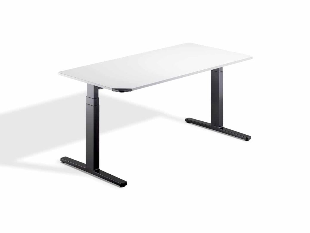 WINEA Flow Sitz-Steh-Tisch in weiß mit schwarzem Gestell