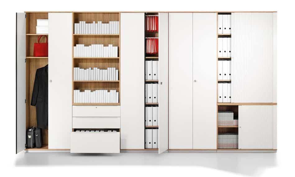 Büroschrank mit viel Stauraum, verschließbar in weiß