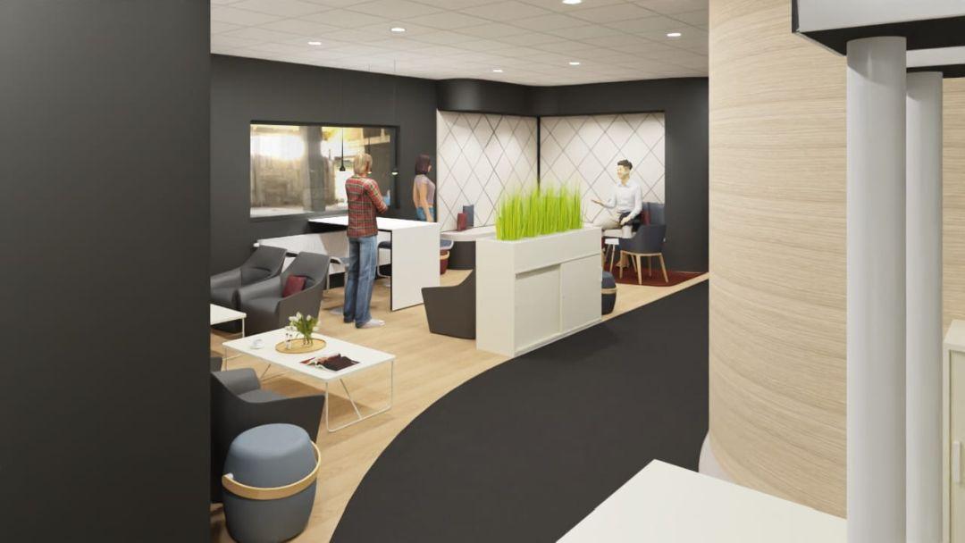 Büroplanung einer Loungezone in dunklerer und hellerer Farbgestaltung