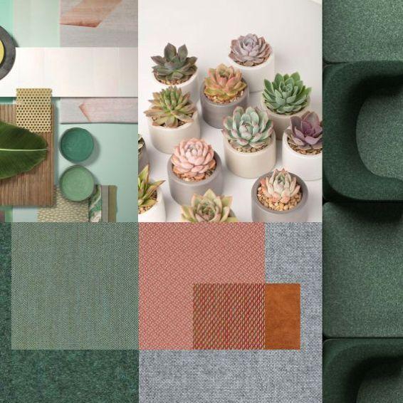 Materialcollage Slider in grün und blau als Büroeinrichter