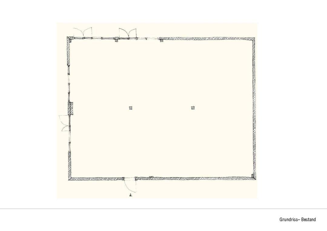 Darstellung 1. Schritt der Kantinenplanung leerer Grundriss.