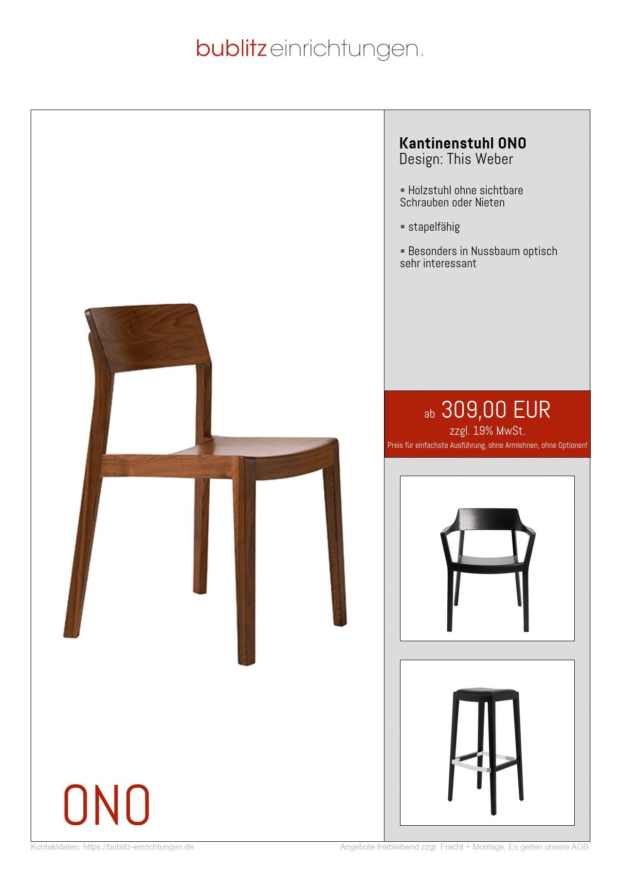 Voll-Massivholz-Stuhl ONO für Kantine + Aufenthaltsraum