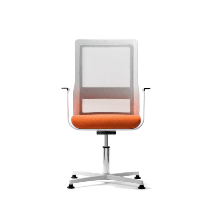Konferenzdrehstuhl mit silbernen Füssen in der Farbgebung orange/grau