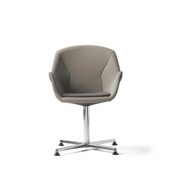 Loungesessel mit Chromgestell , beige Sitzschale