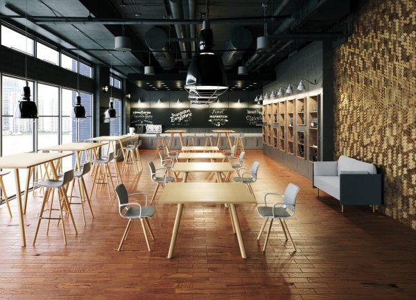 UNI VERSO mit Holz-Gestell im Working Cafe