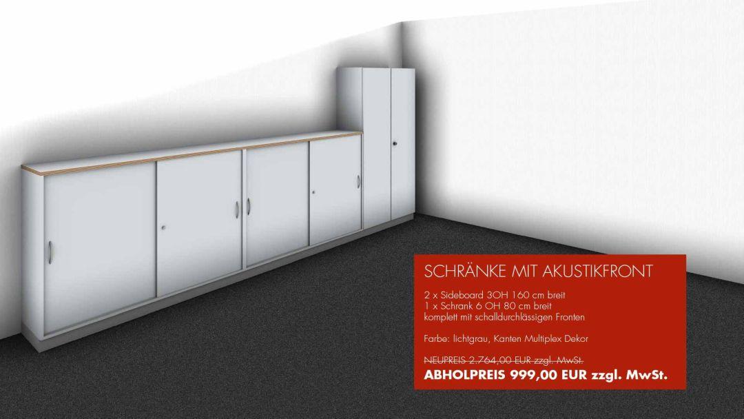 SCHRÄNKE MIT AKUSTIKFRONT - 2 x Sideboard 3OH 160 cm breit - 1 x Schrank 6 OH 80 cm breit komplett mit schalldurchlässigen Fronten - Farbe: lichtgrau, Kanten Multiplex Dekor