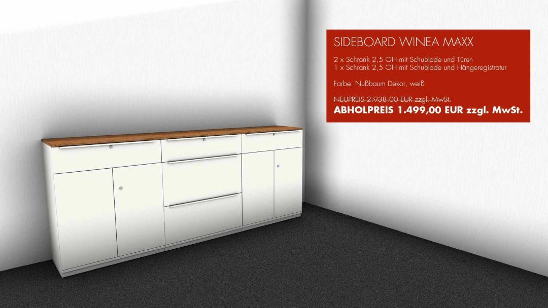 SIDEBOARD WINEA MAXX - 2 x Schrank 2,5 OH mit Schublade und Türen - 1 x Schrank 2,5 OH mit Schublade und Hängeregistratur - Farbe: Nußbaum Dekor, weiß