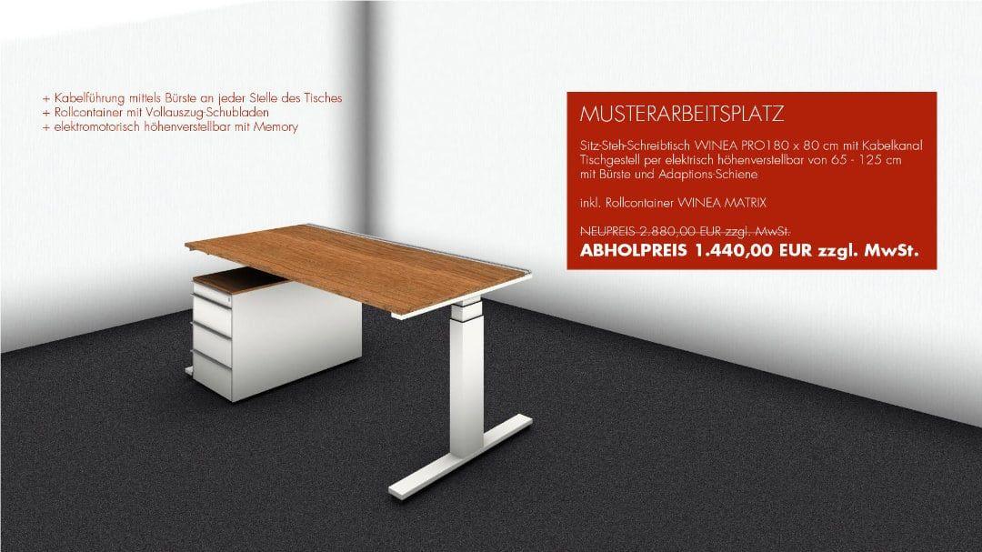 MUSTERARBEITSPLATZ - Sitz-Steh-Schreibtisch WINEA PRO 180 x 80 cm mit Kabelkanal - Tischgestell per elektrisch höhenverstellbar von 65 - 125 cm mit Bürste und Adaptions-Schiene - inkl. Rollcontainer WINEA MATRIX