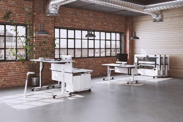Flexibler OKA Jump Flex Schreibtisch auf Rollen für Büroarbeitsplätze