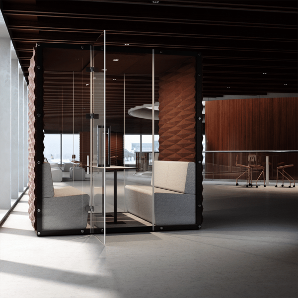 Cube Wall Box von VANK mit Sitzgruppe und Tisch